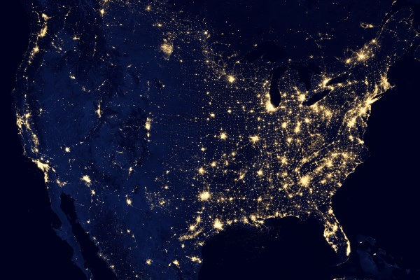 The United States at night, from space.